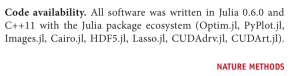Julia used for code-sharing in a Nature publication. I wish I could see that every day!